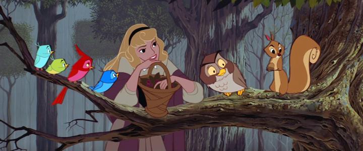 Eine Szene aus dem gleichnamigen Film zu Dornröschen von Disney, 1959.