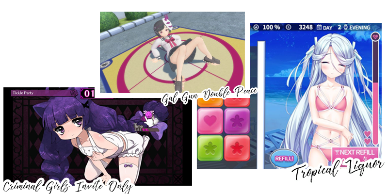 Screenshots aus Criminal Girls Invite Only, Gal Gun Double Peace und Tropical Liquor